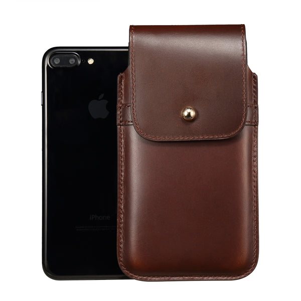 Barrett 2017 Belt Clip Holster for Apple iPhone 6/6s/7 Plus (5.5 inch screen) - Brown Cowhide Leather Finish