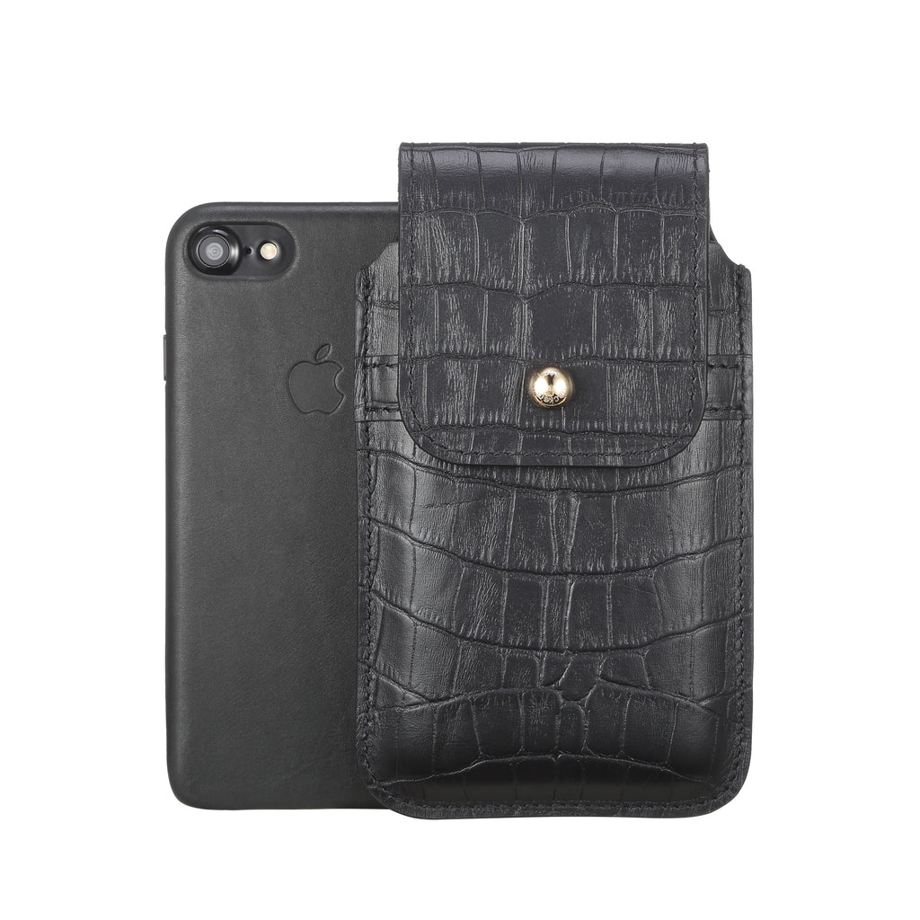 Barrett 2017 Belt Clip Holster for Apple iPhone 6/6s/7 (4.7 inch screen) - Black Croc Embossed Leather Finish