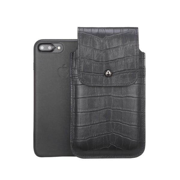 Barrett 2017 Belt Clip Holster for Apple iPhone 6/6s/7 Plus (5.5 inch screen) - Black Croc Embossed Leather Finish