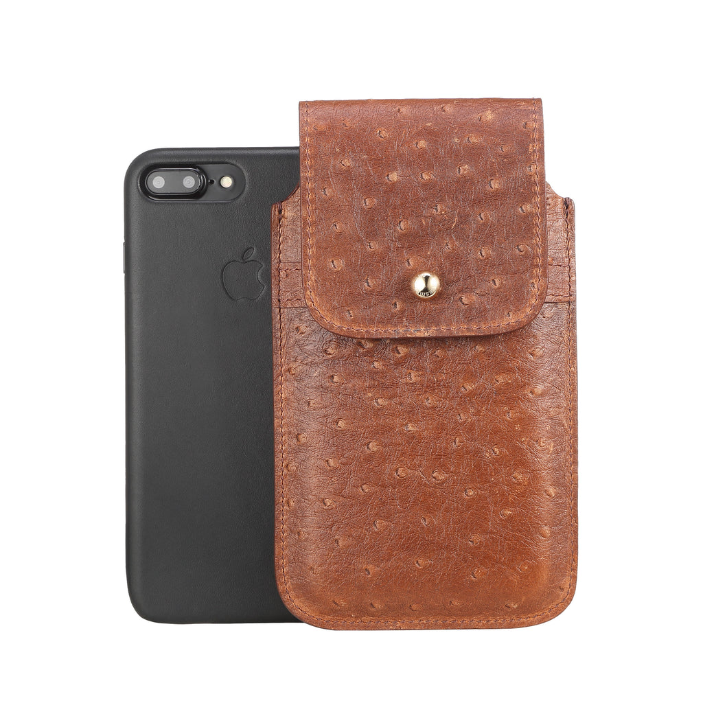 Brown Ostrich Embossed Leather - Barrett 2017 Holster Case for iPhone 8 Plus - Blacksmith-Labs