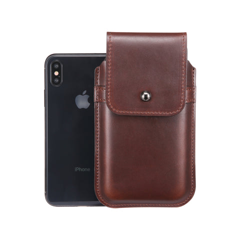 Horween Chromexcel Havana Brown Leather - Barrett 2017 Holster Case for iPhone X - Blacksmith-Labs