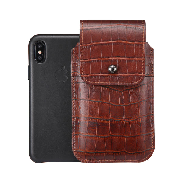 Brown Croc Embossed Leather - Barrett 2017 Holster Case for iPhone X - Blacksmith-Labs