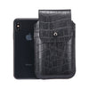 Black Croc Embossed Leather - Barrett 2017 Holster Case for iPhone X - Blacksmith-Labs