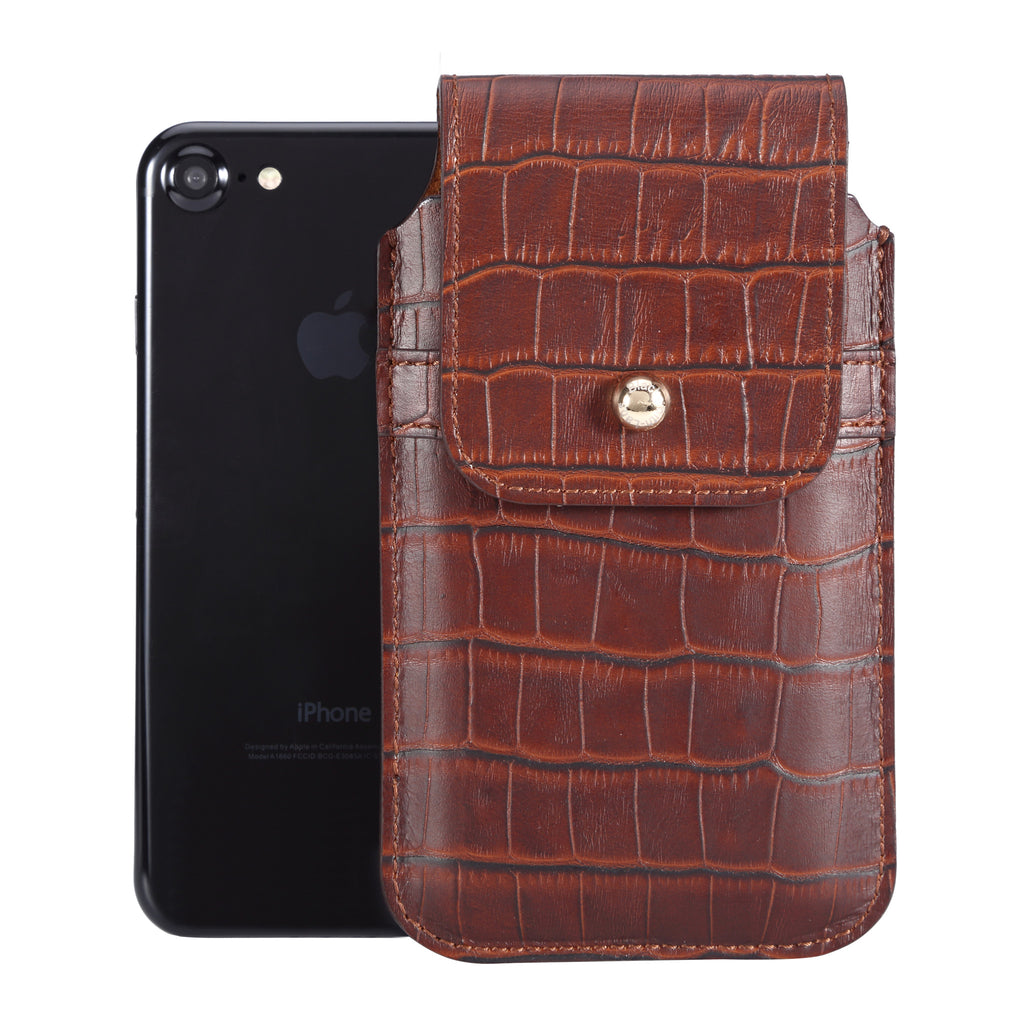 Barrett 2017 Belt Clip Holster for Apple iPhone 6/6s/7/8 (4.7 inch screen) - Rustic Brown Croc Embossed Leather Finish