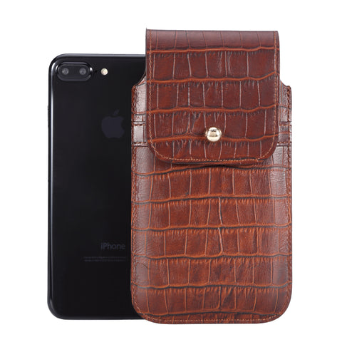 Brown Croc Embossed Leather - Barrett 2017 Holster Case for iPhone 8 Plus - Blacksmith-Labs