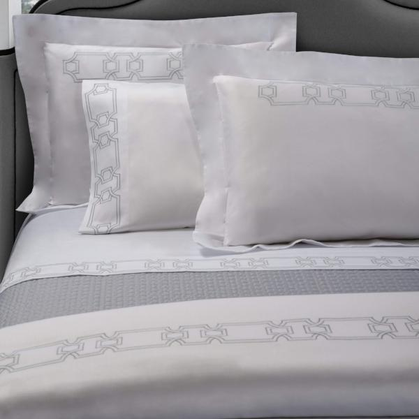 Raso white sateen sheeting and embroidered with a modern yet classic style that will suit any bedroom style.   Stocked colours - White with Grey embroidery, White with White embroidery.
