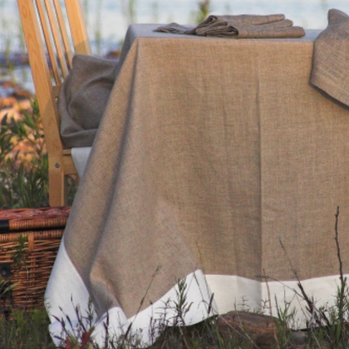Linen Way Serenite Natural & White Tablecloth