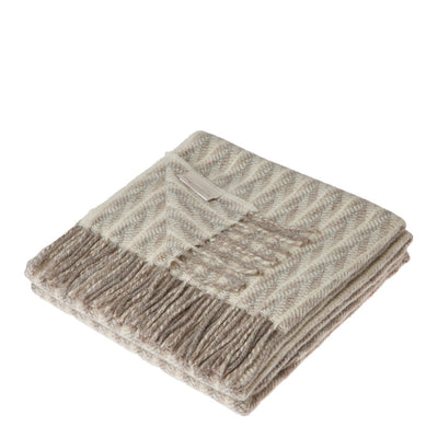 Lanerossi Cuzco Herringbone Throw Wool Alpaca Blend Ivory