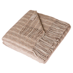 Lanerossi Cuzco Herringbone Throw Wool Alpaca Blend Dark Beige