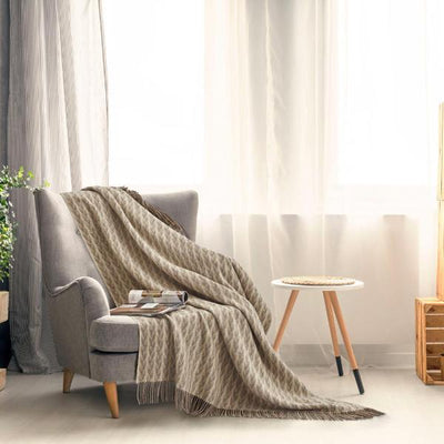 Lanerossi Cuzco Herringbone Throw Wool Alpaca Blend Beige