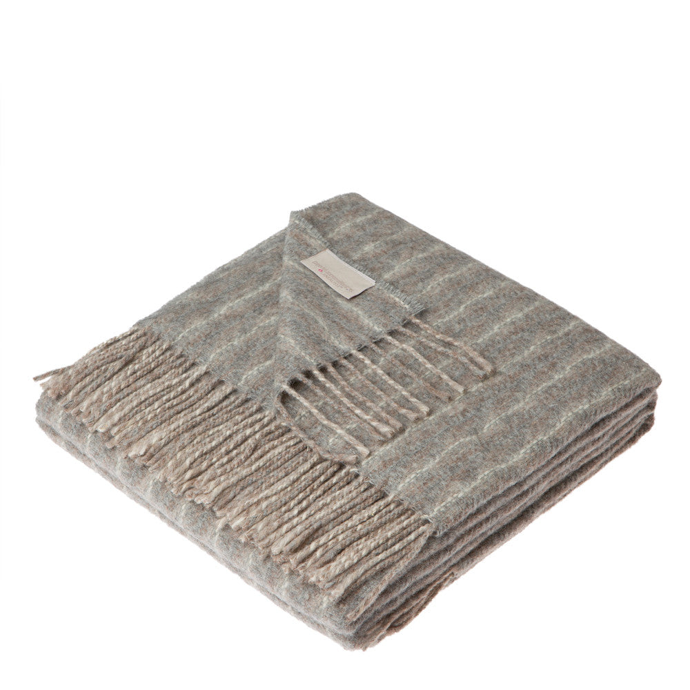 Lanerossi Cuzco Herringbone Throw Wool Alpaca Blend Dove Grey
