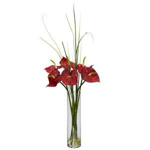 Tropical Anthurium w/Cylinder Arrangement
