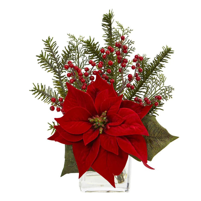 Poinsettia, Pine and Berries in Vase Artificial Arrangement