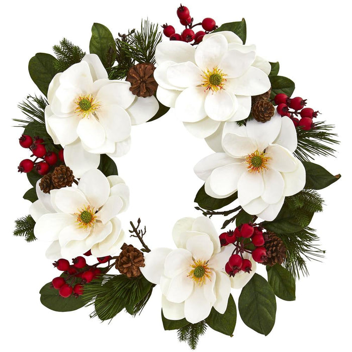 "26"" Magnolia, Pine and Berries Wreath"