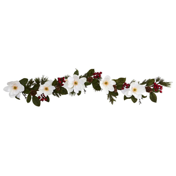 6' Magnolia, Pine and Berries Artificial Garland