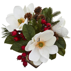 "15"" Magnolia, Pine and Berries Artificial Arrangement"