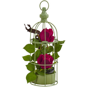 Roses Arrangement in Bird Cage
