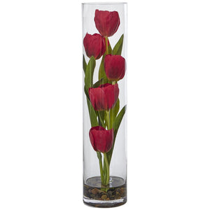 Five Tulips in Cylinder Glass