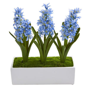 Hyacinth Artificial Arrangement in White Vase