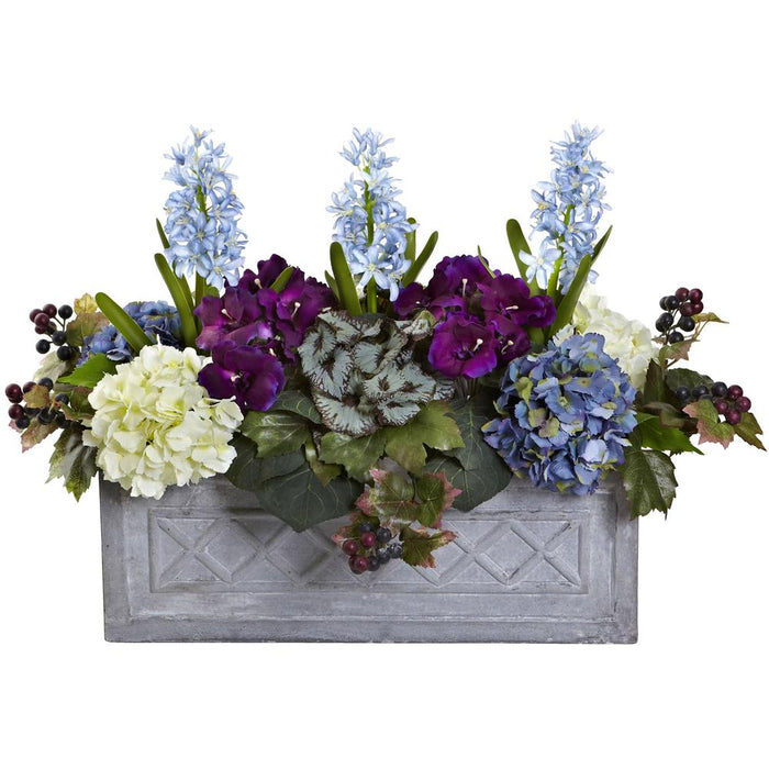 Hyacinth & Hydrangea Artificial Arrangement in Stone Planter