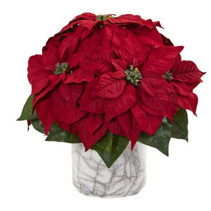 "15"" Poinsettia Artificial Arrangement in Marble Finished Vase"