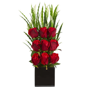 Elegant Rose Artificial Arrangement in Black Vase