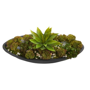Agave & Succulent Garden Artificial Plant in Black Planter