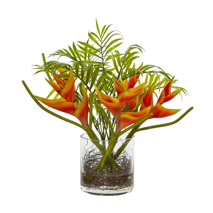 Mini Heliconia & Palm Tropical Artificial Arrangement