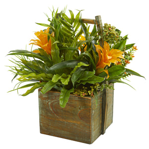 Bromeliad & Mixed Greens Artificial Arrangement in Planter - BACK