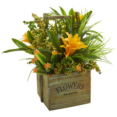 Bromeliad & Mixed Greens Artificial Arrangement in Planter - Home Staging Warehouse