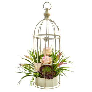 Rose, Grass & Succulent Artificial Arrangement in Bird Cage