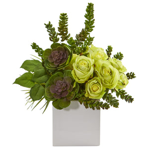 "14"" Rose & Succulent Artificial Arrangement In White Vase - Green"