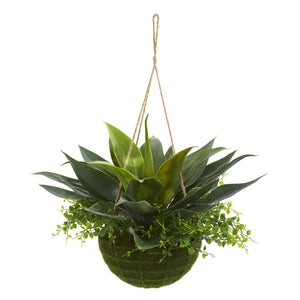 Agave And Maiden Hair Artificial Plant In Hanging Basket (Indoor/Outdoor)