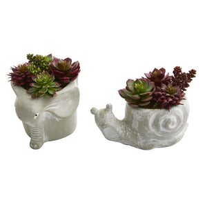 Succulent Artificial Plant in Elephant and Snail Planter (Set of 2)