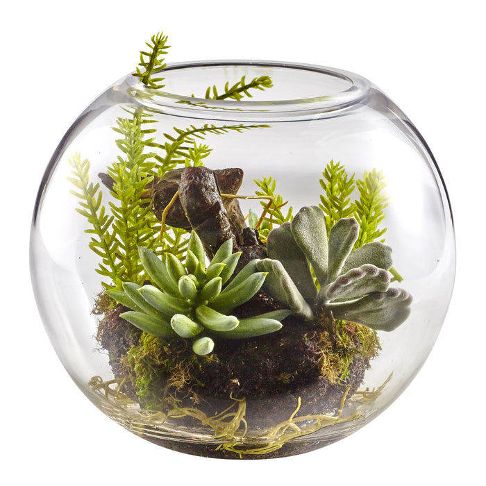 Mix Succulent Garden with Glass Vase
