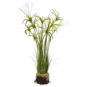 Papyrus Plant with Faux Soil - Home Staging Warehouse
