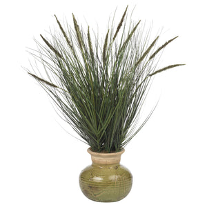 "27"" Grass w/Mini Cattails Silk Plant - Home Staging Warehouse"