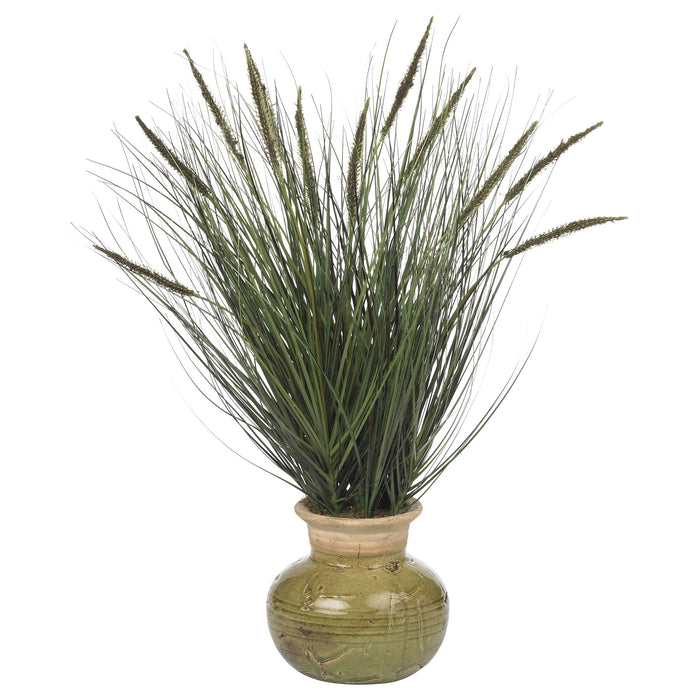 "27"" Grass w/Mini Cattails Silk Plant"