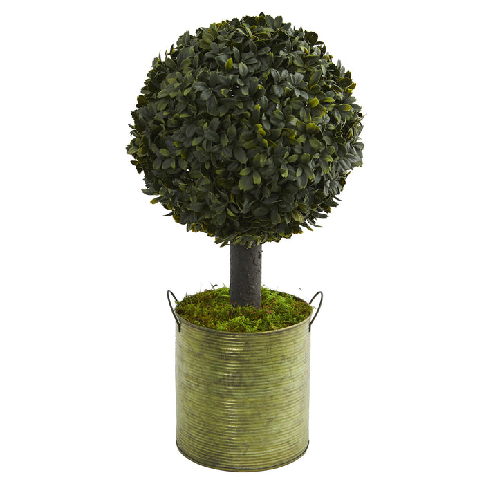 1.5' Boxwood Ball Topiary Fake Artificial in Green Tin (Indoor/Outdoor)