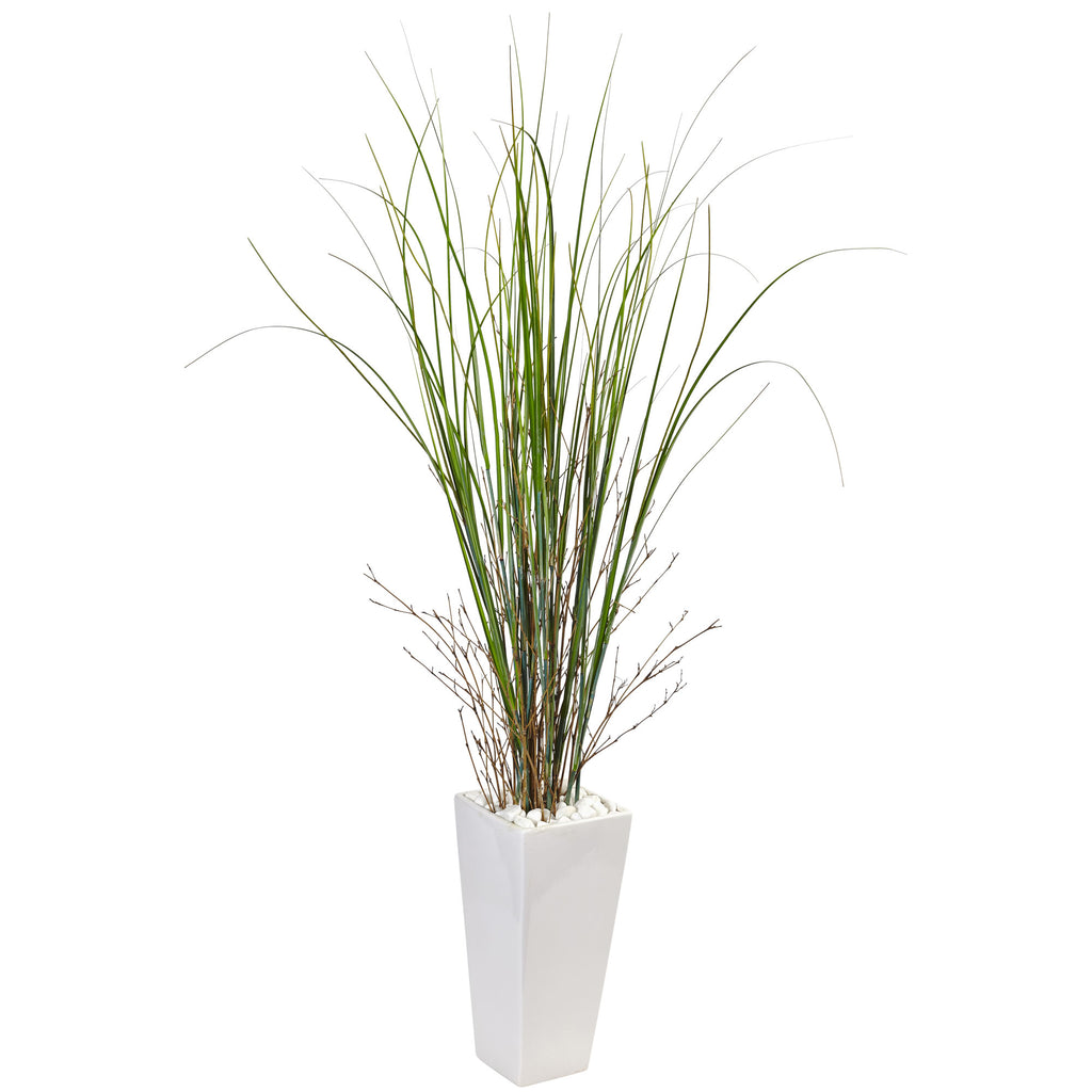 Fake Bamboo Grass in White Tower Ceramic - Home Staging Warehouse