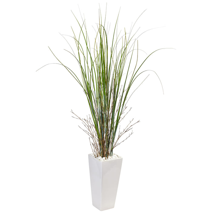 Fake Bamboo Grass in White Tower Ceramic
