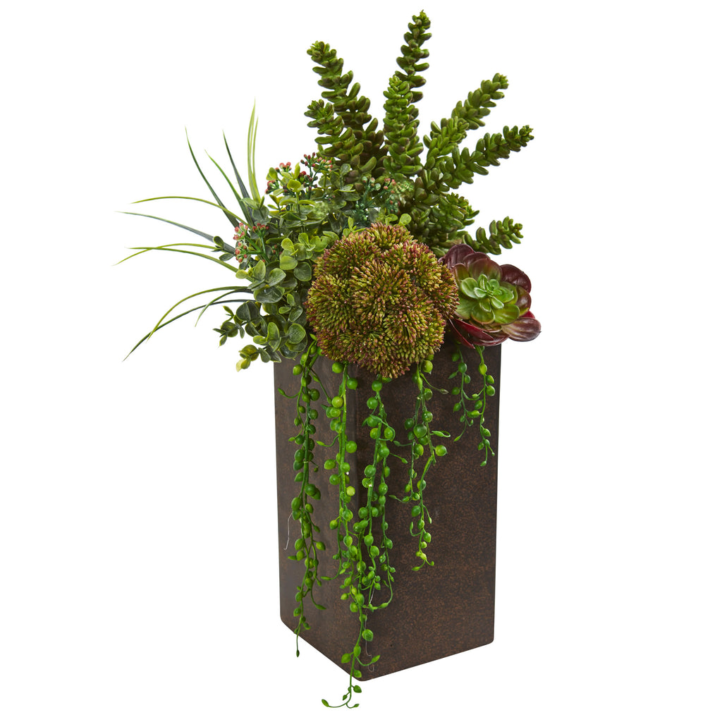 Succulent Artificial Plant in Brown Planter - Home Staging Warehouse