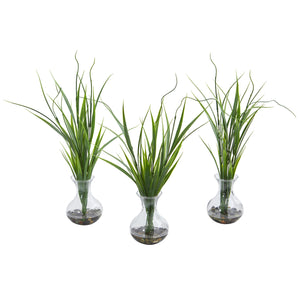 Grass Artificial Plant in Vase (Set of 3) - Home Staging Warehouse