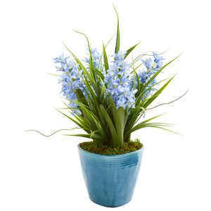 Hyacinth Artificial Plant in Blue Vase