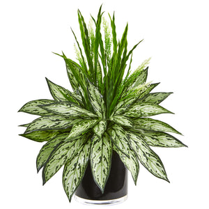 Silver Queen and Grass Artificial Plant in Black Vase - Home Staging Warehouse
