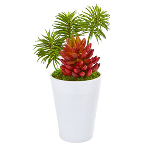 "12"" Mixed Succulents Artificial Plant In White Vase"