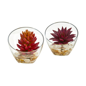 "6"" Succulent Artificial Plant In Glass Vase (Set Of 2)"