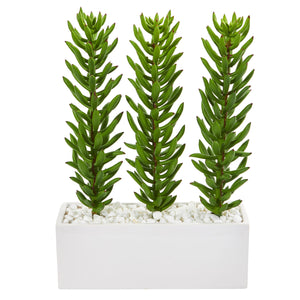 "16"" Succulent Spikes Artificial Plant In White Ceramic Vase"
