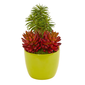 "13"" Succulent Artificial Plant In Green Vase"