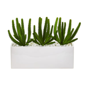 Finger Cactus Artificial Plant In White Vase
